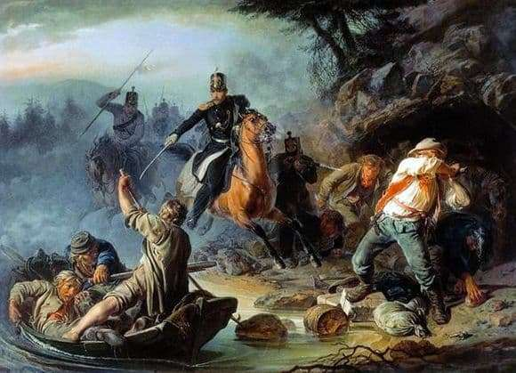 Description of the painting by Vasily Khudyakov An encounter with the Finnish smugglers