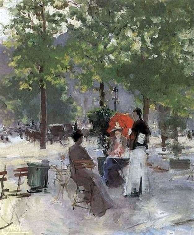 Description of the painting by Konstantin Korovin Paris Cafe