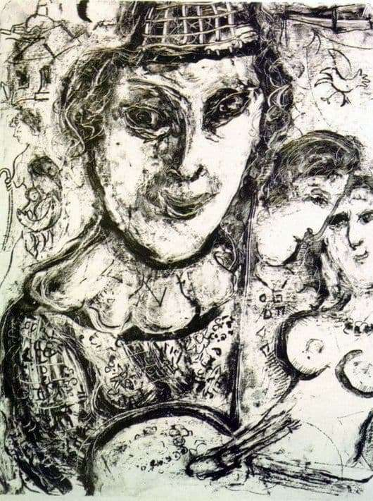 Description of the painting by Marc Chagall Self portrait