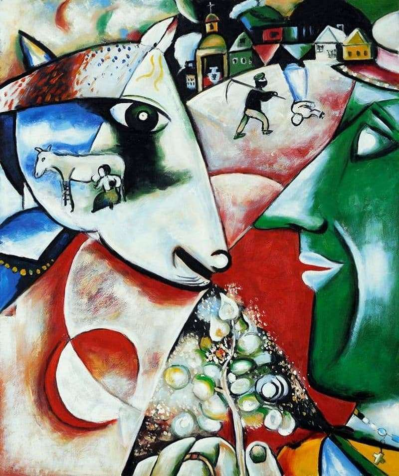 Description of the painting by Marc Chagall I and the Village