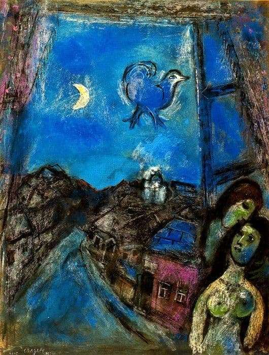 Description of the painting by Marc Chagall Evening at the window