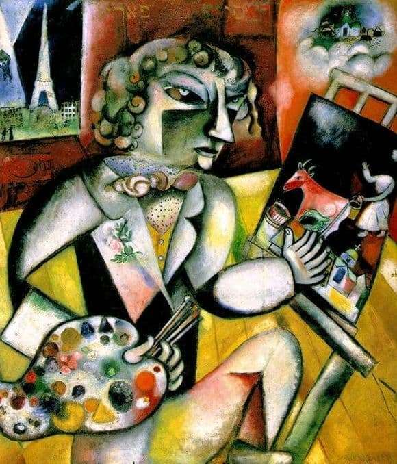 Description of the painting by Marc Chagall Self portrait with seven fingers