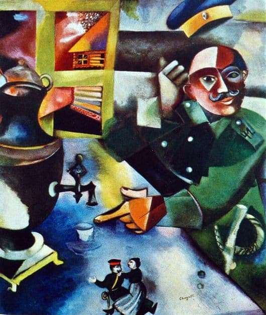 Description of the painting by Marc Chagall The Soldier Drinks