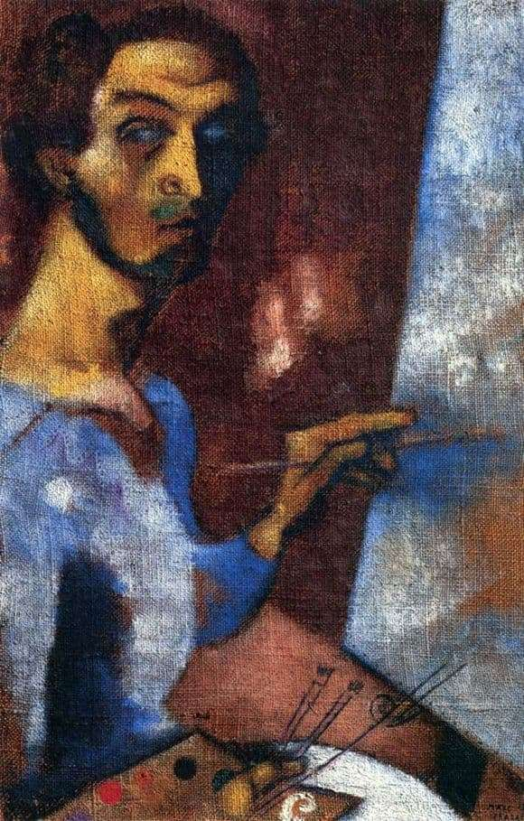 Description of the painting by Marc Chagall Self portrait with easel