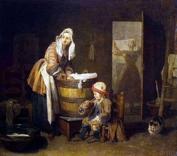 Description of the painting by Jean Baptiste Simeon Chardin Laundress