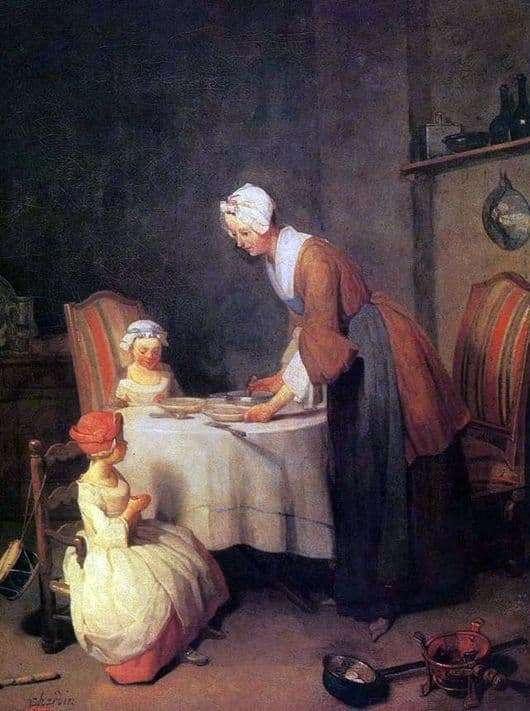 Description of the painting by Jean Baptiste Simeon Chardin Prayer before dinner