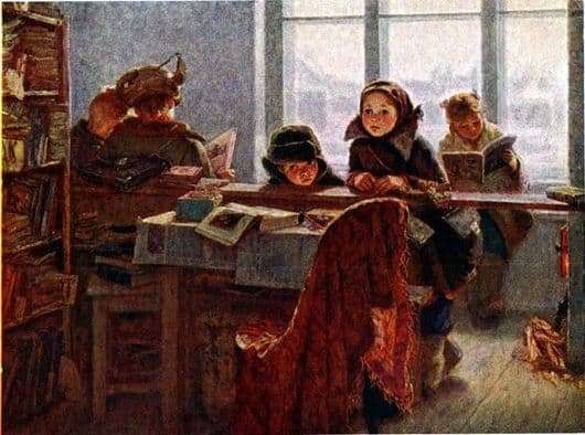 Description of the painting by Irina Shevandronova In the rural library