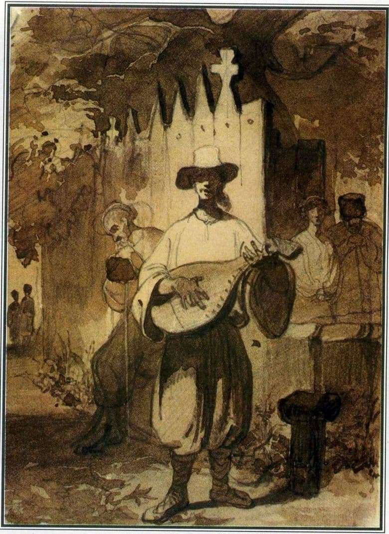 Description of the painting by Taras Shevchenko Bandurist