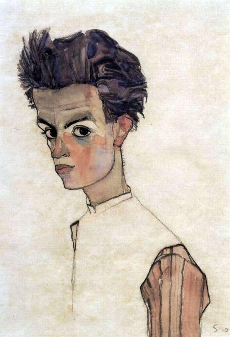 Description of the painting by Egon Schiele Self portrait