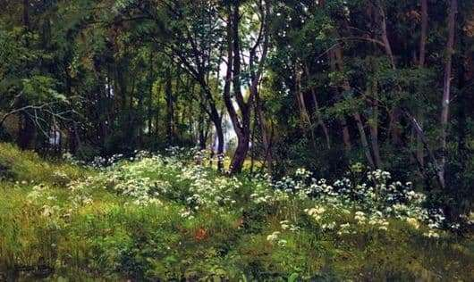 Description of the painting by Ivan Shishkin Flowers at the edge of the forest