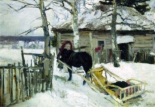 Description of the painting by Konstantin Korovin Winter