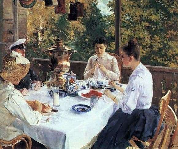 Description of the painting by Konstantin Korovin At the tea table