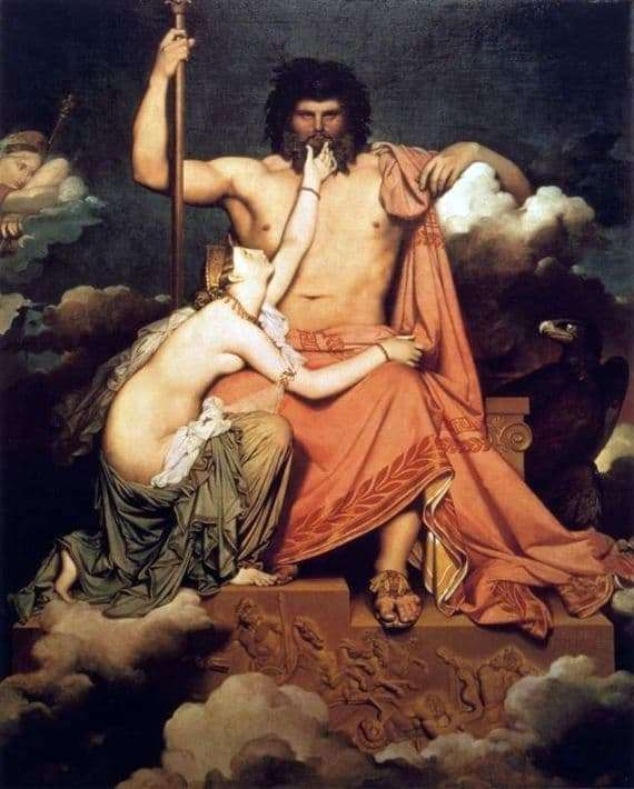 Description of the painting by Jean Auguste Ingres Zeus (Jupiter) and Thetis