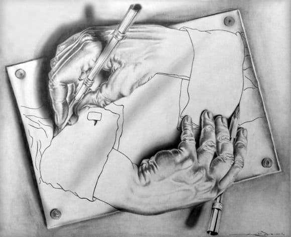 Description of the painting by Maurits Escher drawing hands
