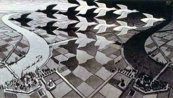 Description of the painting by Maurits Escher Day and Night
