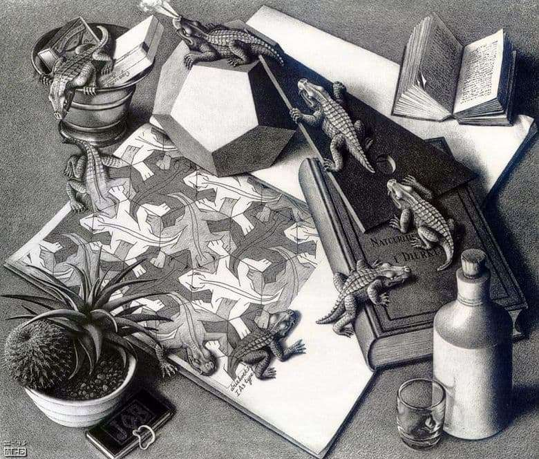 Description of the painting by Maurits Escher Reptiles
