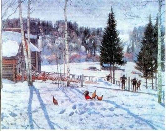 Description of the painting by Konstantin Yuon End of Winter Noon