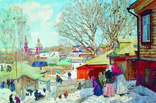 Description of the painting by Konstantin Yuon Spring Sunny Day