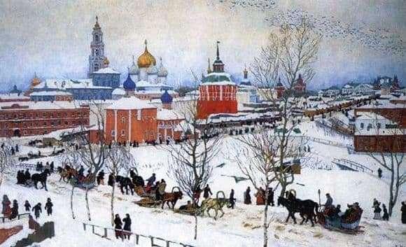Description of the painting by Konstantin Yuon Winter. Rostov Veliky