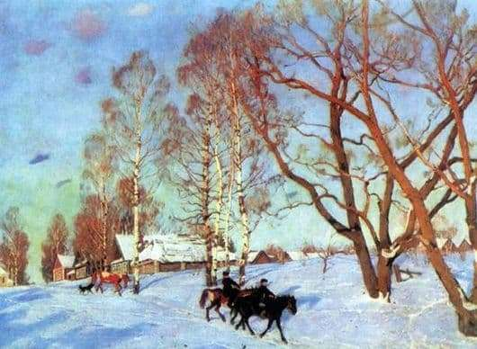 Description of the painting by Konstantin Yuon March sun