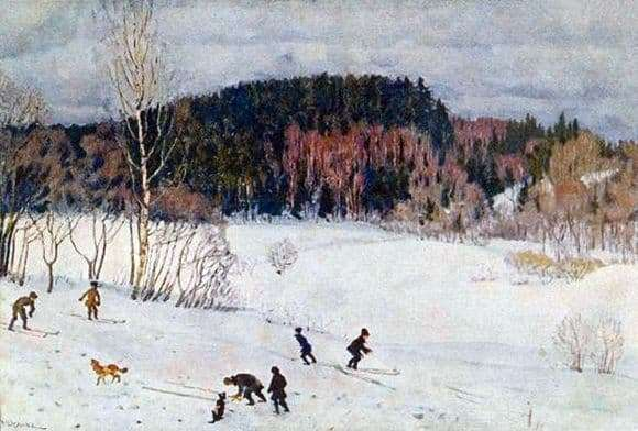 Description of the painting by Konstantin Yuon Landscape with skiers