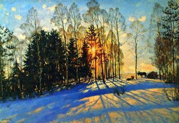 Description of the painting by Konstantin Yuon Winter Sun