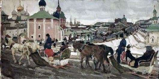 Description of the painting by Konstantin Yuon To the Trinity