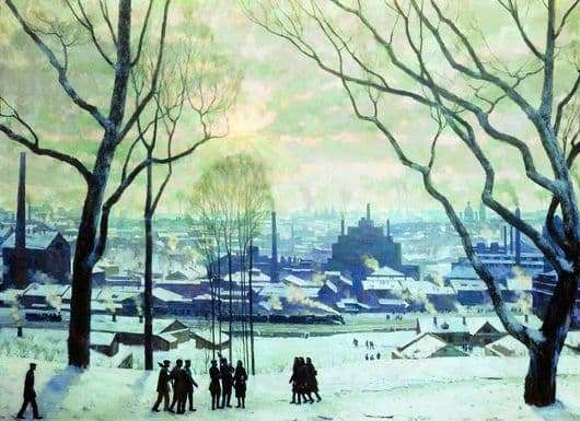 Description of the painting by Konstantin Yuon Morning of industrial Moscow