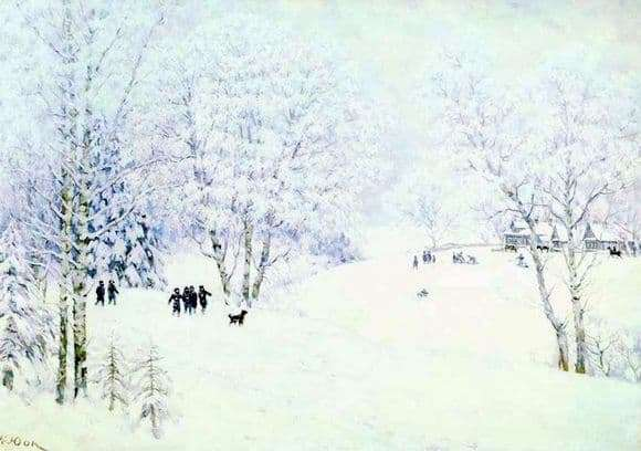 Description of the painting by Konstantin Yuon Russian winter Ligachevo