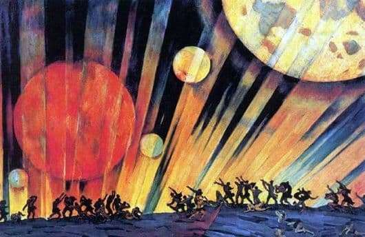 Description of the painting by Konstantin Yuon New Planet