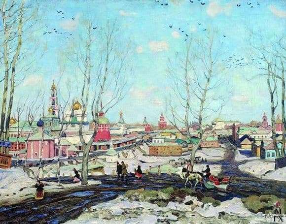 Description of the painting by Konstantin Yuon Spring in the Trinity Sergius Lavra
