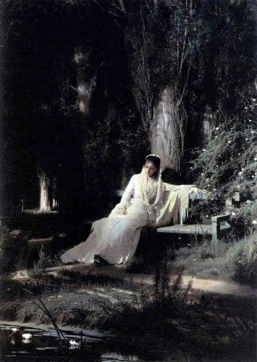 Description of the painting by Ivan Kramsky Moonlight Night