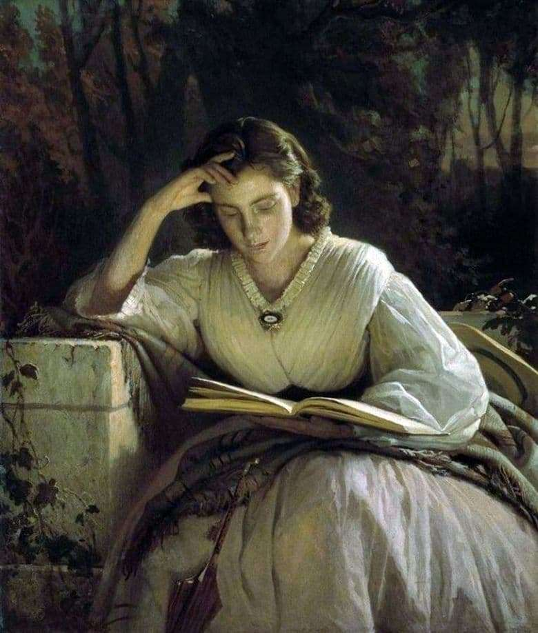 Description of the painting by Ivan Kramsky For reading (1863)