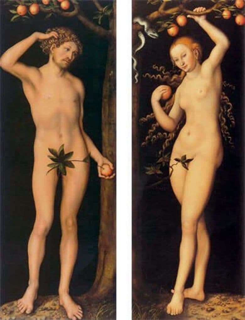 Description of the painting by Lucas Cranach the Elder Adam and Eve