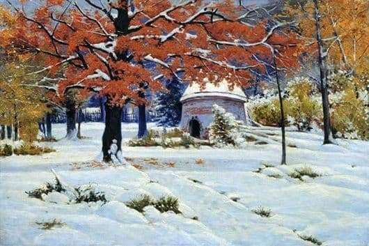 Description of the painting by Konstantin Kryzhitsky Early snow