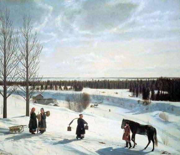 Description of the painting by Nikifor Krylov Russian Winter