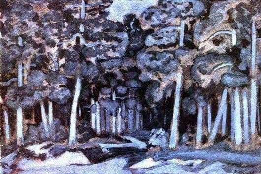 Description of the painting by Nikolay Krymov Moonlit night in the forest
