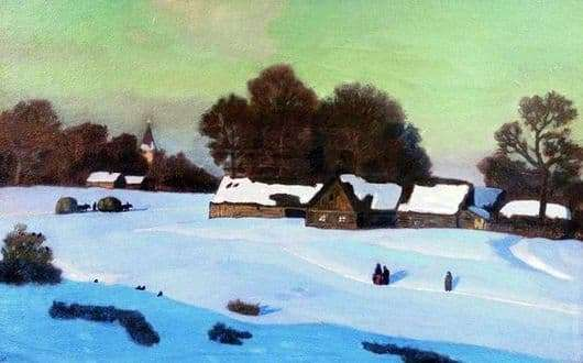Description of the painting by Nikolay Krymov Winter evening