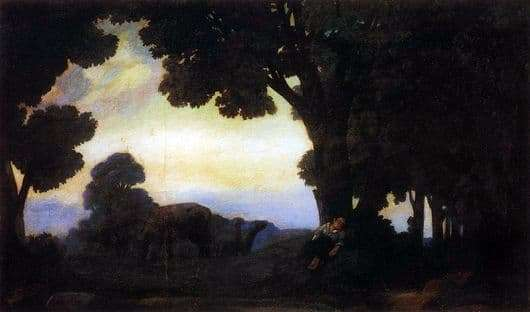 Description of the painting by Nikolay Krymov At dawn