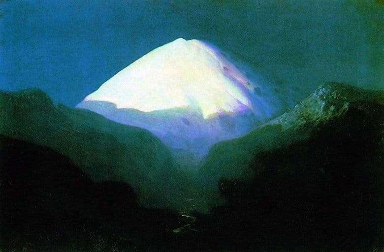 Description of the painting by Arkhip Kuindzhi Elbrus. Moonlight night