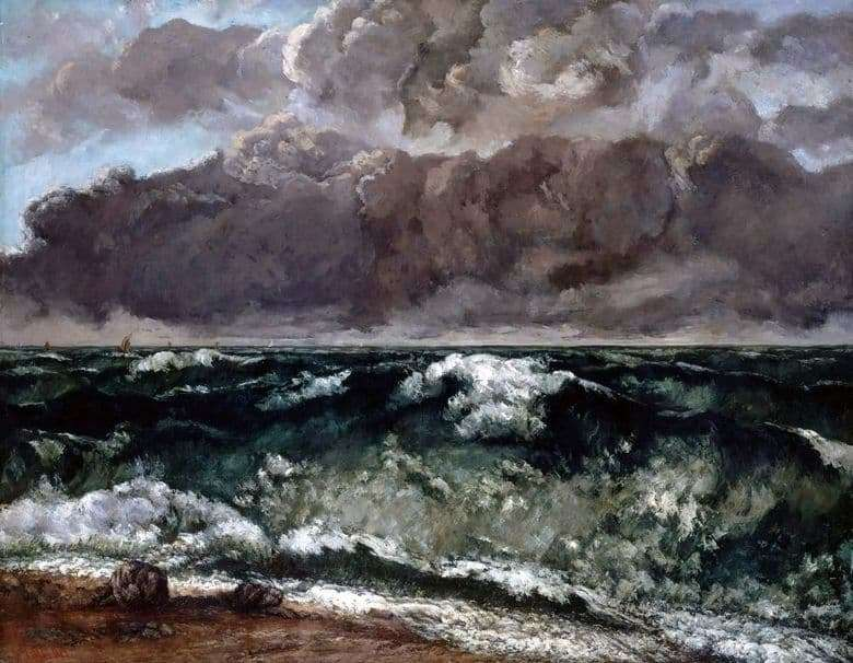 Description of the painting by Gustave Courbet Wave (1870)