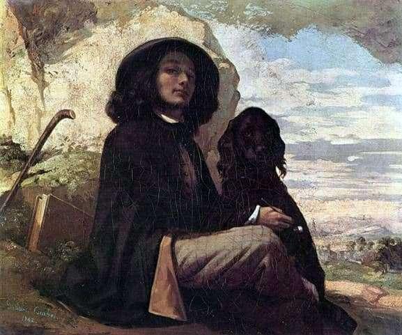 Gustave Courbet picture description Self portrait with a black dog