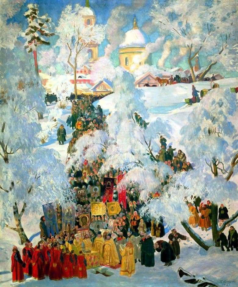 Description of the painting by Boris Kustodiev Epiphany (1921)