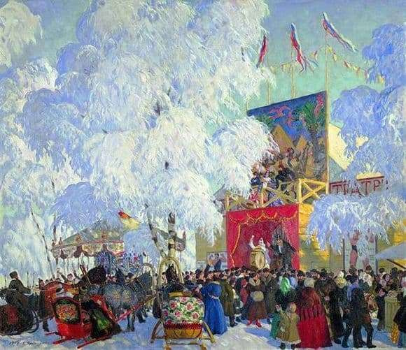 Description of the painting by Boris Kustodiev Balagan