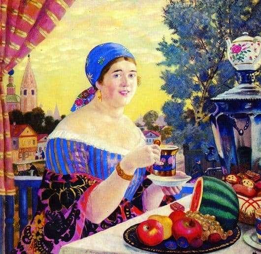 Description of the painting by Boris Kustodiev Tea Party