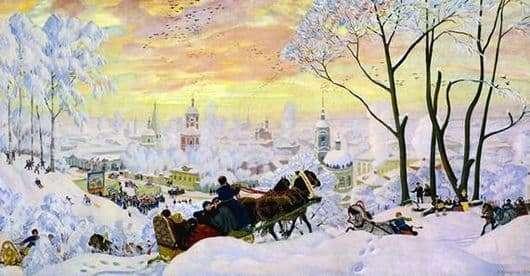 Description of the painting by Boris Kustodiev Maslenitsa