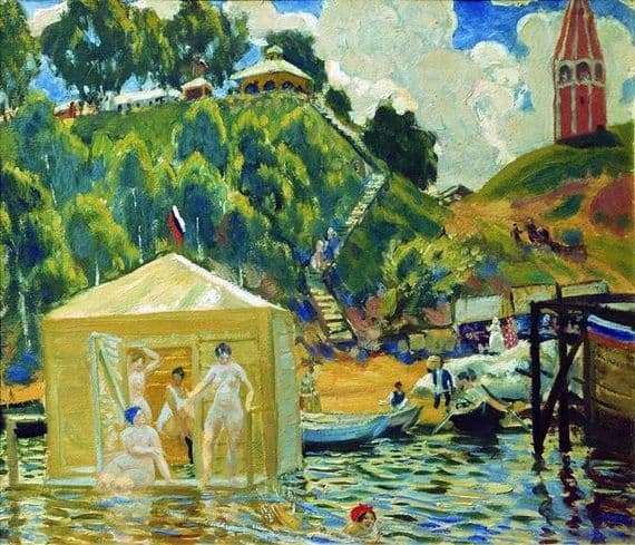 Description of the painting by Boris Kustodiev Bathing