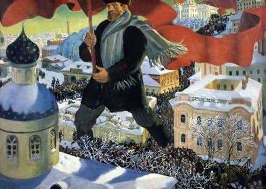 Description of the painting by Boris Kustodiev Bolshevik