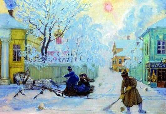 Description of the painting by Boris Kustodiev Frosty Day