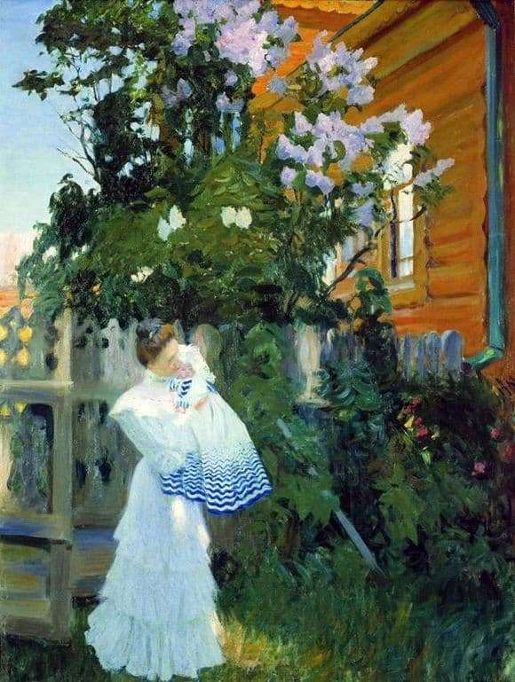 Description of the painting by Boris Kustodiev Lilac